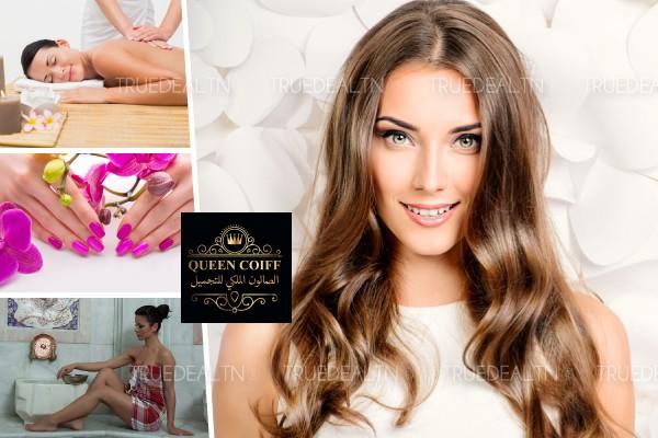 Coloration + Mèches + Coupe + Brushing + Epilation visage, sourcils + 2 Poses vernis + Hammam + Gommage + Enveloppement henna café + Massage humide