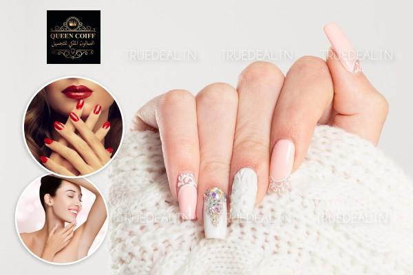 Soin des mains + Faux ongles capsules + Gel + Pose vernis permanent + Epilation lèvre supérieure, menton