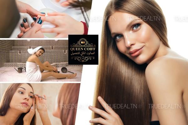 Kératine + Coloration + Coupe + Brushing + Epilation visage, sourcils + 2 poses vernis + Hammam + Gommage + Enveloppement savon marocain + Massage relaxant humide
