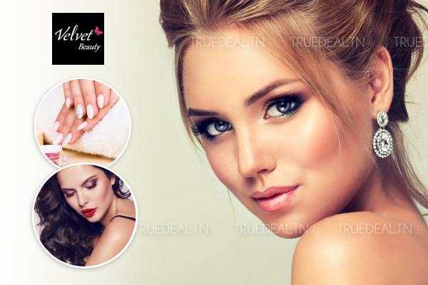 Maquillage soirée + Brushing artistique + Epilation sourcils, lèvre supérieure + Pose vernis