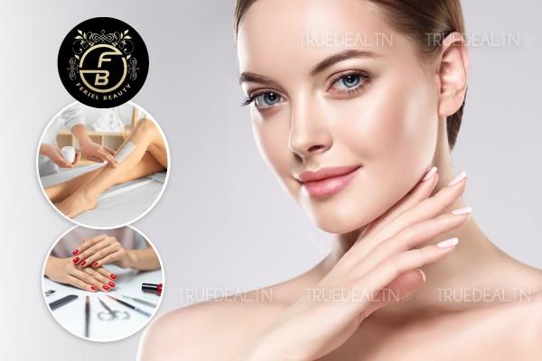 Soin de visage spécifique + Epilation jambes complètes, bras complètes, aisselles + Soin des mains + Pose vernis permanent + Brushing