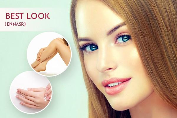 Coloration + Mèches + Coupe + Brushing + Epilation visage, sourcils, bras complètes, aisselles + Soin des mains + Pose vernis permanent