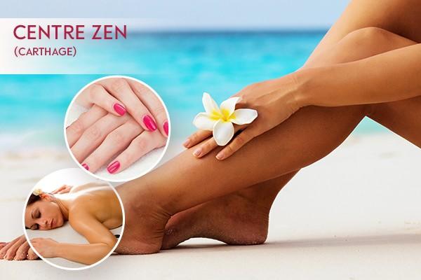 Epilation jambes complètes, bras complètes, aisselles, maillot intégrale + Soin des mains + Pose vernis permanent + Brushing + Massage relaxant