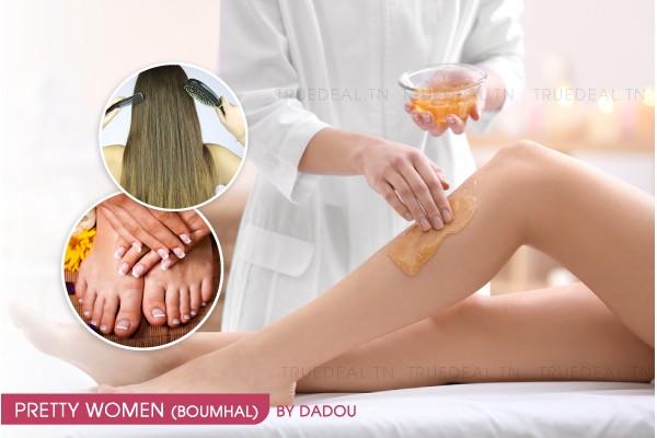 Epilation jambes complètes, bras complètes, aisselles, visage, sourcils + Soin des mains + Soin des pieds + Brushing