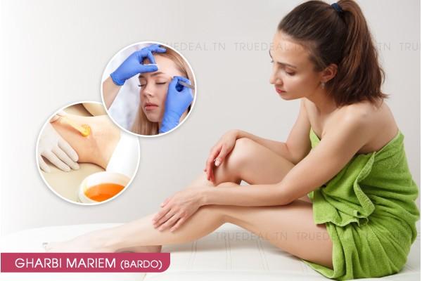 Epilation jambes complètes, bras complètes, aisselles, visage, sourcils