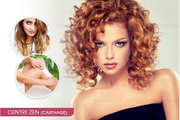 Coloration + Mèches + Coupe + Brushing + Epilation visage, sourcils, jambes complètes, bras complètes, aisselles