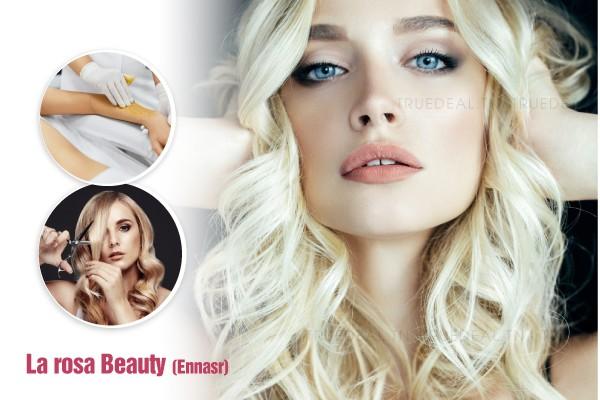 Coloration + Mèches + Coupe + Brushing + Epilation visage, sourcils, bras complètes, aisselles