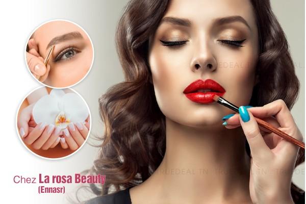 Maquillage soirée + Brushing artistique + Epilation sourcils, lèvre supérieure + Pose vernis permanent