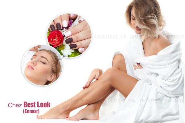 Epilation jambes complètes, bras complètes, aisselles, visage (fil ou cire), sourcils, maillot intégrale + Brushing + Soin des mains + Pose vernis permanent