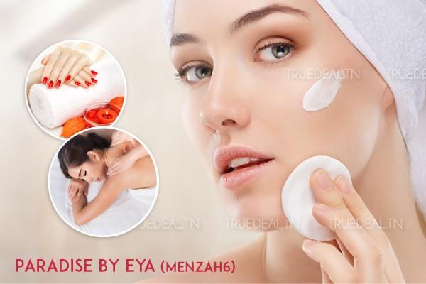 Massage Relaxant +Modelage de visage+Soin des mains+Soin des pieds+2 Poses vernis+Epilation sourcils+Lévre supérieure+Menton+Brushing