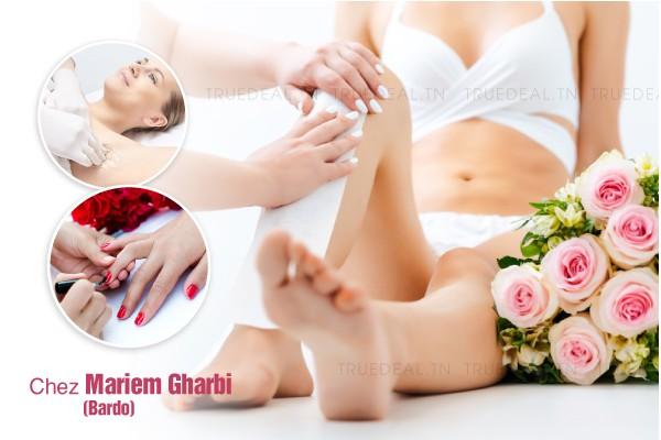 Epilation jambes+ Bras+ aisselles+ visage+sourcils+Soin des mains+Pose vernis permanent+ Brushing