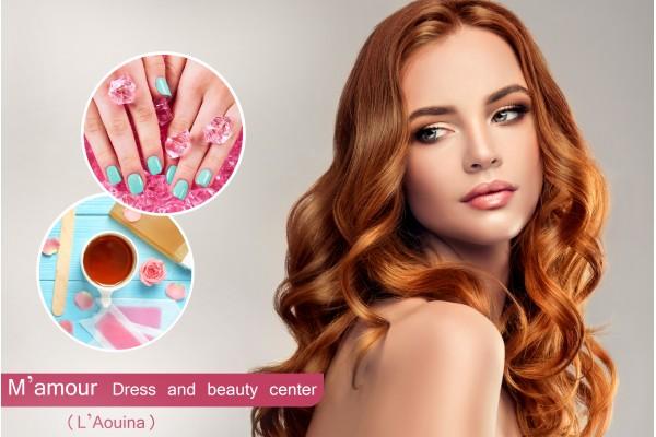 Coloration+Brushing+Epilation Visage,Sourcils+Jambes complétes+Bras complétes+Aisselles+Soin des mains+Pose vernis permanent