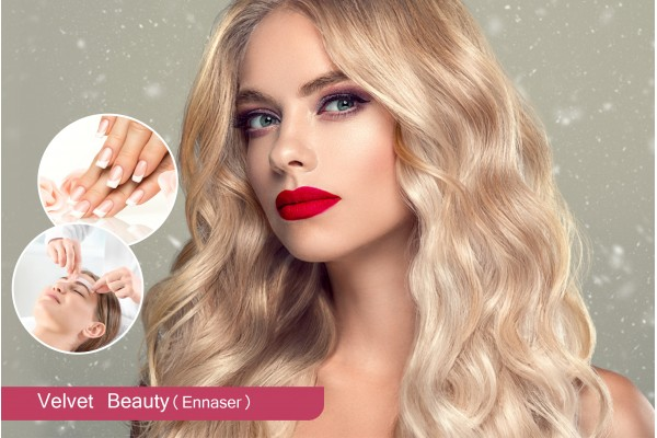 Coloration ou Mèches+Brushing+Epilation Vusage+Epilation Sourcils+Pose vernis permanent