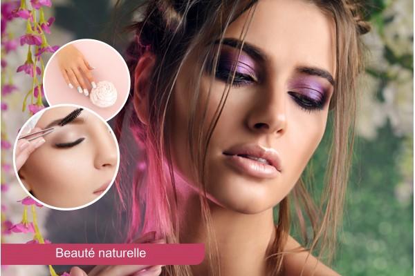 Maquillage soirée+Brushing artistique+Epilation visage+Sourcils+Soin des mains+Pose vernis permanent