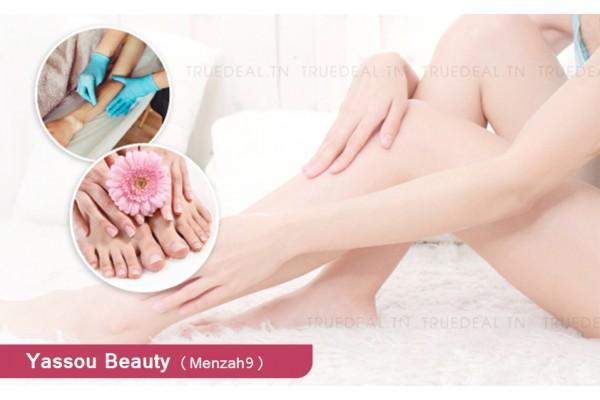 Soin des mains+Soin des pieds+Pose vernis permanent +Epilation jambes+Epilation bras+Aisselles+Visage+Sourcils