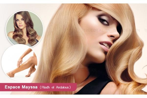 Coloration+Méches+Coupe+Brushing+Epilation visage+Sourcils+Jambes +Bras+Aisselles