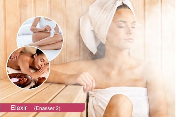 Hammam+Gommage+Enveloppement savon marocain+Massage relaxant humide (30min) + Brushing+Pose vernis permanent