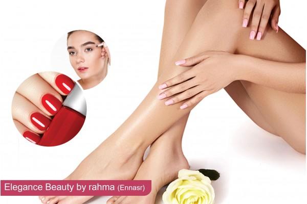 Epilation jambes complètes, bras complètes, aisselles, visage+ sourcils + Brushing + Soin des mains + Pose vernis permanent.
