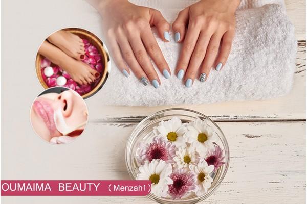 soin des mains spécifique+soin des pieds spécifique+2poses vernis+Coupe+Brushing+Ep Sourcils+ lèvre sup+Massage dorsal(30min)