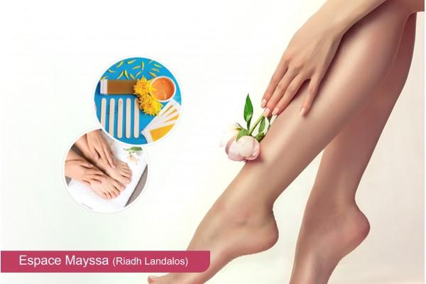 Epilation jambes complètes, bras complètes, aisselles, visage, sourcils, soin des mains+pieds+2 poses vernis permanent