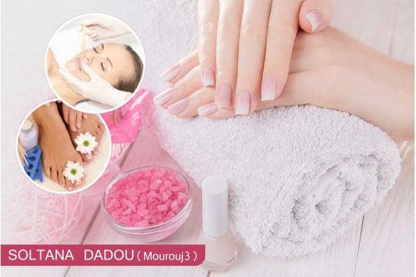 Soin des mains + Soin des pieds + 2 poses vernis permanent +Epilation Sourcils+lèvre supérieur+Brushing