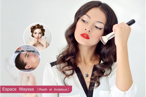 Maquillage soirée+Brushing artistique+Epilation Sourcils+Pose vernis permanent