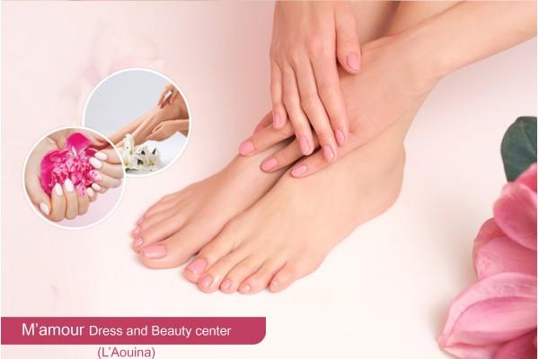 Soin des mains + Soin des pieds + 2 poses vernis permanent + capsules (2 orteilles)+Design+Ep jambes
