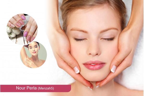Soin de visage+ Epilation Sourcils+Epilation bras+Epilation aisselles+Soin des mains+Pose vernis permanent
