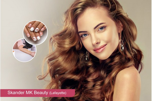 Coloration ou Méches + Coupe + Brushing + Epilation visage, sourcils, bras+Pose vernis permanent