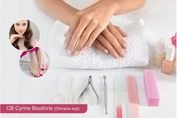 soin des mains+soin des pieds+2 poses vernis permanent+Epilation sourcils+Brushing