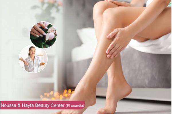 Epilation jambes complètes, bras complètes, aisselles, visage+Brushing+Pose vernis