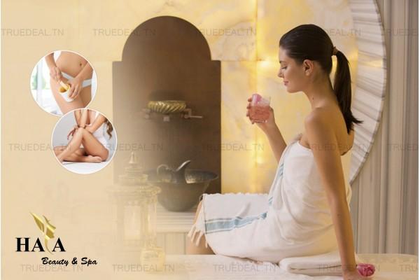 Hammam+Gommage+Enveloppement+Massage Relaxant humide+Epilation jambes +Bras +Aisselles+Maillot intégrale+Brushing