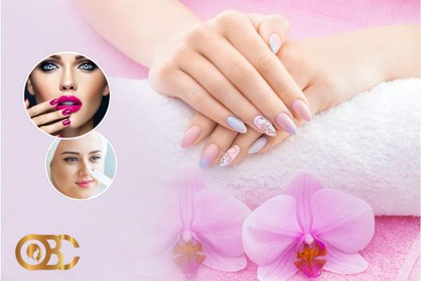 Faux ongles (Capsule) + Gel + Pose vernis permanent+Design+Epilation sourcils+Epilation lèvre sup+Brushing