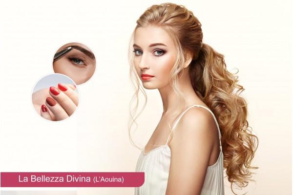 Coloration + Mèches+ Coupe +Brushing+ Epilation visage+Epilation sourcils +Soin des mains+Pose vernis permanent