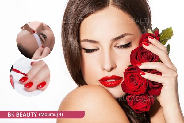Soin des mains+ Pose vernis permanent+Epilation sourcils+lèvre sup +Coupe+Brushing