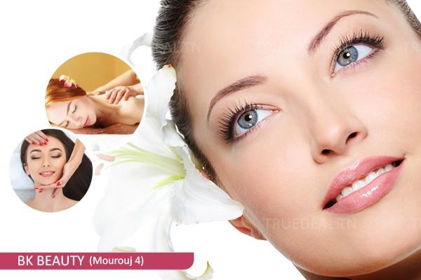 Soin de visage+ Massage anti-relâchement (15 min)+ Massage relaxant (20 min)+ Brushing
