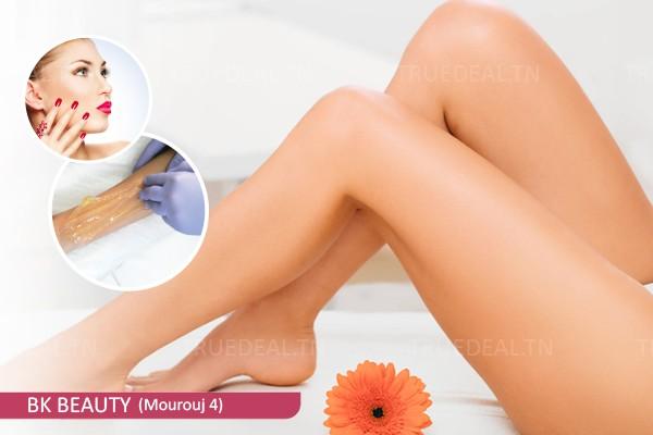 Epilation jambes complètes, bras complètes, aisselles, visage,sourcils+Brushing+Soin des mains+Pose vernis permanent