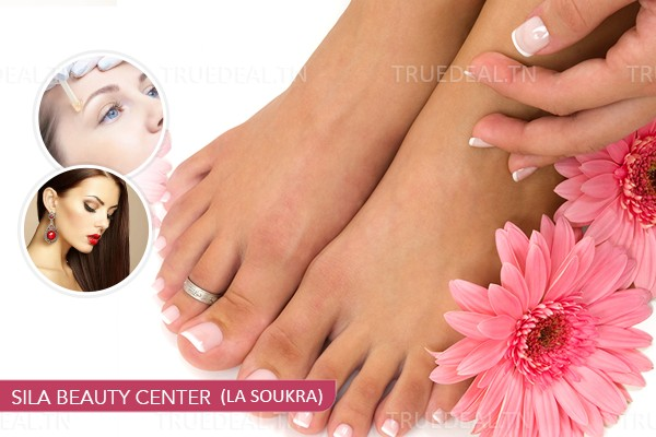 Soin des mains+Soin des pieds+2 poses vernis permanent+Epilation visage+ Epilation Sourcils+Brushing