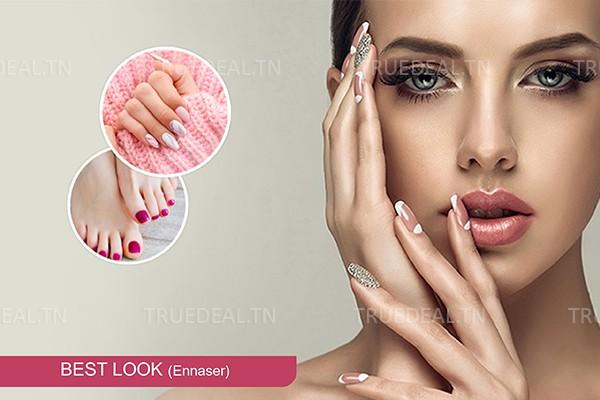 Faux ongles (Capsule) + Gel + Pose Vernis Permanent Pieds+Epilation Visage