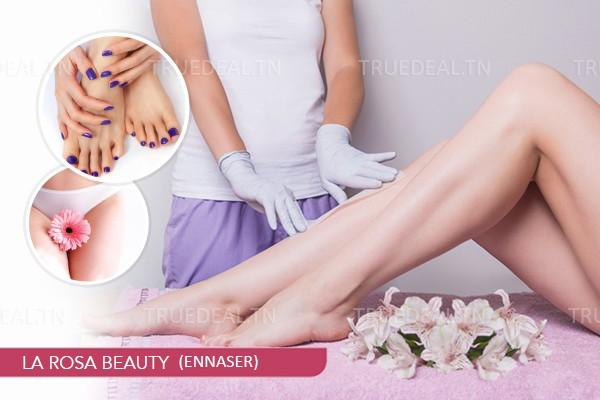 Epilation Visage+ Sourcils+ Jambes + Bras + Aisselles+Maillot intégral+Soin des mains+Soin des pieds+2 Poses vernis permanent