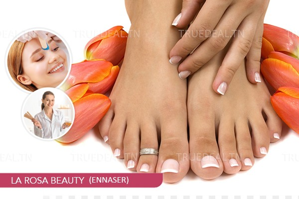 Epilation Visage+ Epilation Sourcils+Jambes+Bras+Aisselles+ Soin des mains+Soin des pieds+ 2 Poses vernis permanent