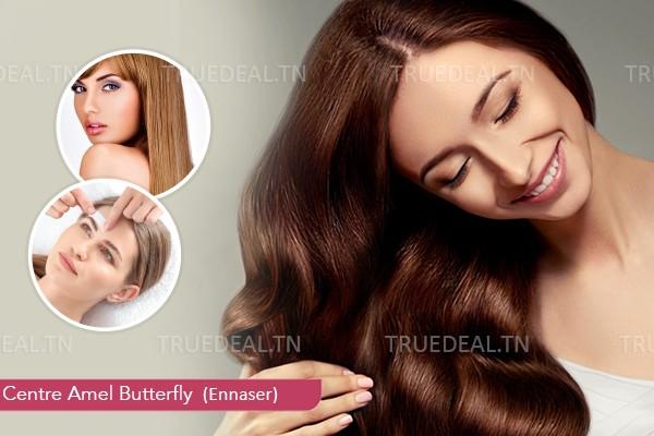kératine + Coupe +Brushing +Epilation visage + Epilation sourcils