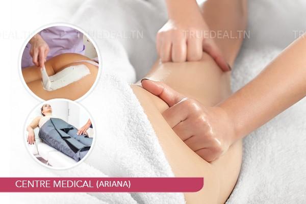 10 Séances : Massage anti-cellulite + Pressothérapie+Drainage Lymphatique+Enveloppement anti-cellulite